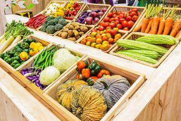 Organic vegetables in a basket on Shelf