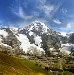 Moench (Monk) peak, Jungfrau mountain massif, Alps, Switzerland.