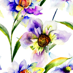 Seamless patterns with Gerber flowers