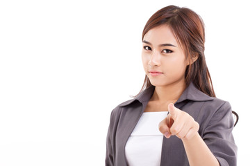 female business executive, business woman looking and pointing a