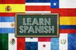 Obrazy na płótnie, fototapety, zdjęcia, fotoobrazy drukowane : Learn Spanish - vintage background concept