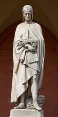 Padua - statue of Dante Alighieri in porch of the Lodge Amulea