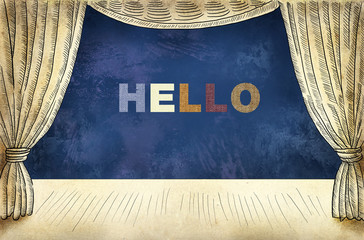 Theater curtain with Inscription Hello