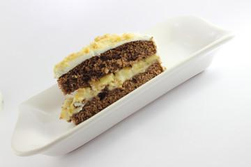 White cream Birthday cake slice