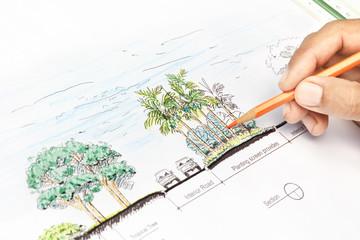 Landscape architect design section plan