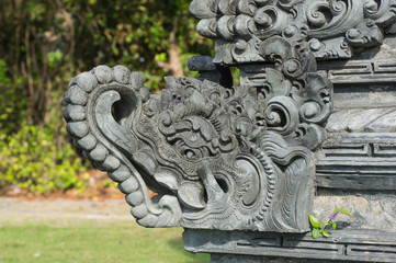 Fragment of decoration of the temple close up
