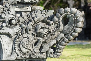 Fragment of decoration of the temple in the form of a dragon