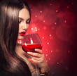 Beauty young sexy woman drinking red wine