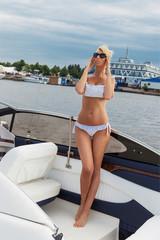 Pretty woman on a boat