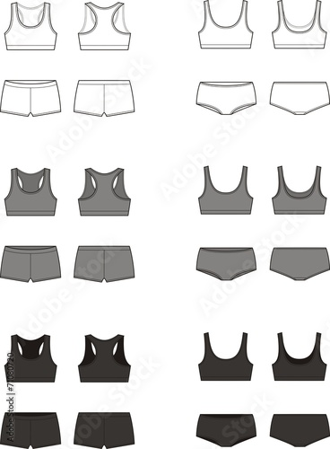 Vector illustration of women's sport underwear - 71080720