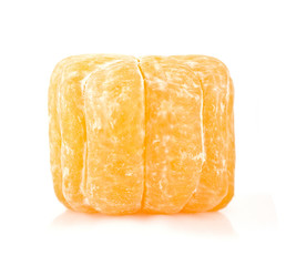 Square (cube) tangerine on a white background