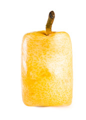 Square (cube) yellow pear on a white background