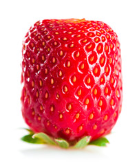 Square (cube) strawberry on a white background