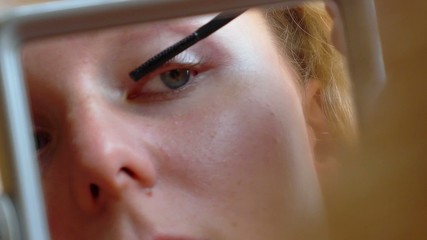 Makeup. Woman Applying Mascara on Eyelashes.