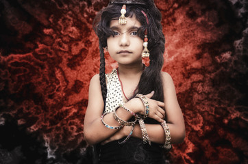 portrait of small fashionable girl child