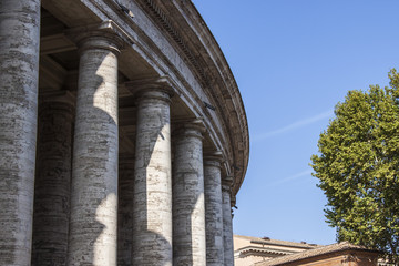 Rome, Italy. Fragment of an ancient colonnade of Bernini