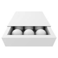 Golf balls inside the box