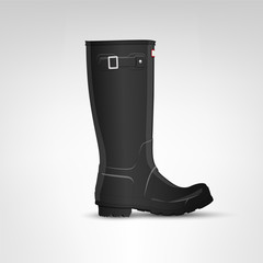 Black rubber boot illustration
