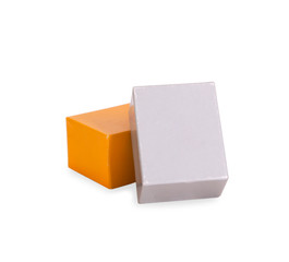 Gray and yellow boxes on white background