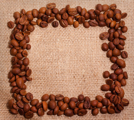 Coffee frame on texture background
