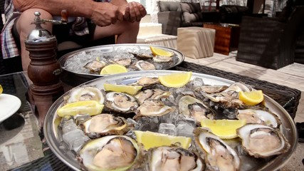oysters served on table