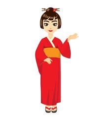 Kimono girl mascot in Recommend action