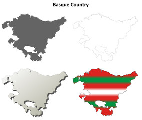 Basque Country blank detailed outline map set - Basque version