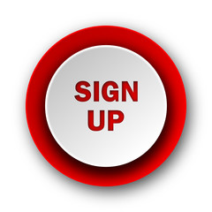 sign up red modern web icon on white background