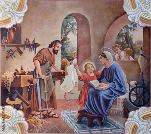 Leinwandbild Motiv The fresco of Holy Family from village church