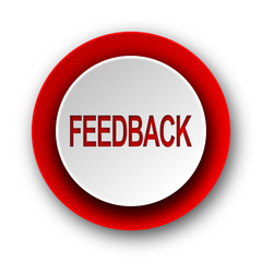 feedback red modern web icon on white background