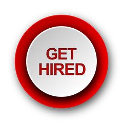 get hired red modern web icon on white background