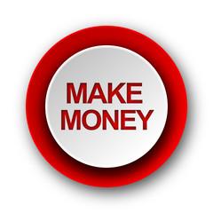make money red modern web icon on white background