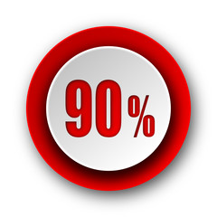 90 percent red modern web icon on white background