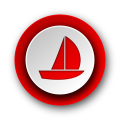 yacht red modern web icon on white background