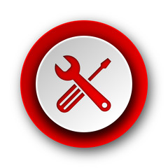 tools red modern web icon on white background