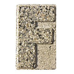 Letter F carved in a concrete block