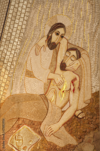Madrid - Modern mosiac of Good Samaritan in Almudena cathedral - 71083956