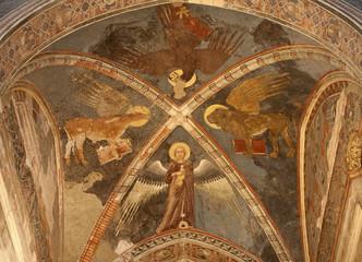 Verona - Fresco of Evangelists in sanctuary of church San Fermo