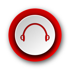 headphones red modern web icon on white background