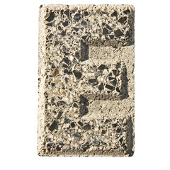 Letter E carved in a concrete block