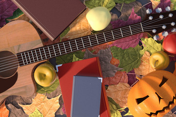 Autumn illustration in 3D