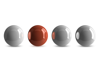 Red ball in row of white ones