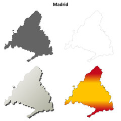Madrid blank detailed outline map set