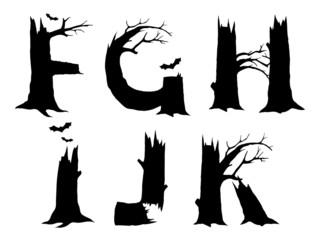 Halloween horror alphabet letters FGHIJK