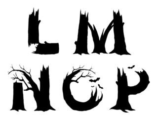 Halloween horror alphabet letters LMNOP