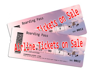 Airline ticket on sale - concept image