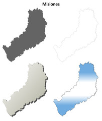 Misiones blank outline map set