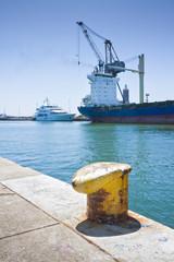 Merchant ship docked in an Italian port