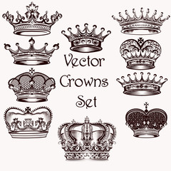 Collection of vector hand drawn crowns  for design