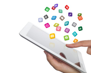 application icons fly off the tablet computer in hand